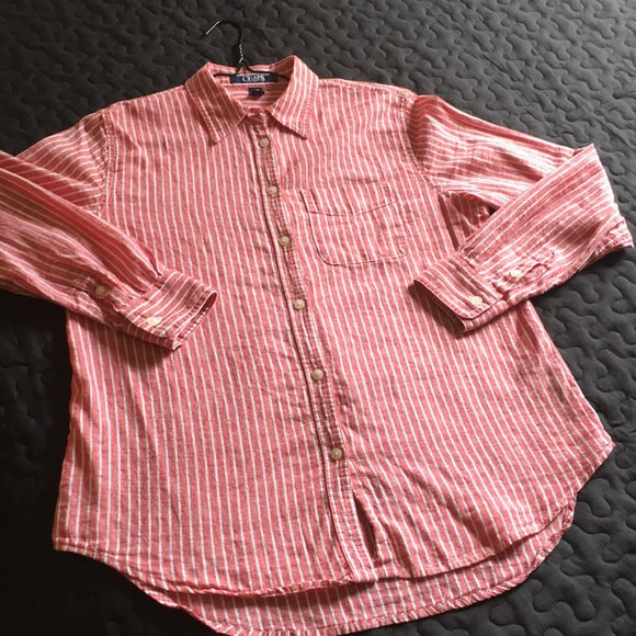 Chaps Tops - CHAPS LINEN AND COTTON STRIPE LONG SLEEVES TOP